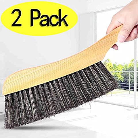 Mango de madera cepillo de limpieza -2pcs Hotel familia ropa polvo pelo sofá cama colcha alfombra de limpieza cepillo de cerdas naturales de madera grande para oficina en casa y coche Set de