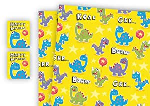 Convenient Birthday Bundle. Children's Luxury Dinosaur Gift Wrap with matching Personalised Birthday Card