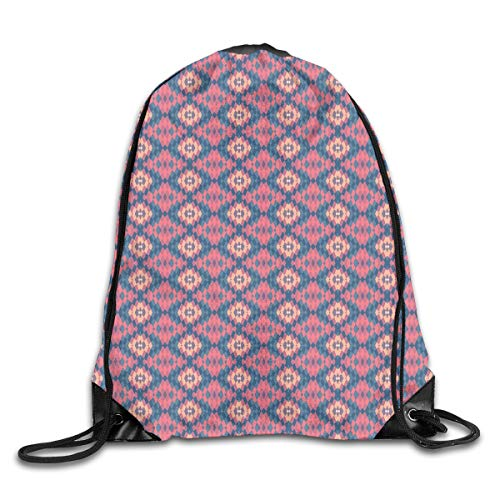 YOWAKi Printed Drawstring Backpacks Bags,Ethnic Retro Style Tile Optical Illusion Effect Abstract Graphic Design,Adjustable String Closure Illusion Iced