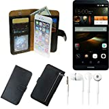 TOP SET für Huawei Ascend Mate 7 32GB Portemonnaie Schutz Hülle schwarz aus Kunstleder + Kopfhörer Walletcase Smartphone Tasche für Huawei Ascend Mate 7 32GB vollwertige Geldbörse mit Handyschutz - K-S-Trade®