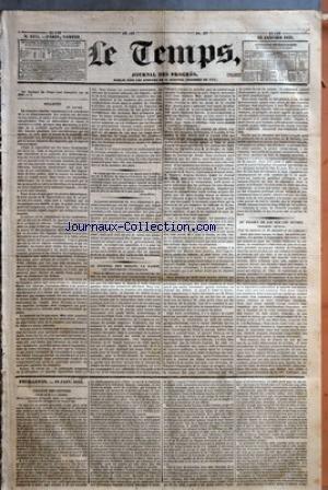 TEMPS (LE) [No 1189] du 19/01/1833 - BULLETIN - 18 JANVIER - LE JOURNAL DES DEBATS, LA PAIRIE, LES LEGITIMISTES INCONSEQUENTS - DU PROJET DE LOI SUR LES SUCRES - TROISIEME ARTICLE - FEUILLETON - 19 JANV. 1833 - FACULTE DES LETTRES - COURS DE M. J.-J. AMPERE - DE LA LITTERATURE FRANCAISE DANS SES RAPPORTS AVEC LES LITTERATURES ETRANGERES AU MOYEN-AGE.