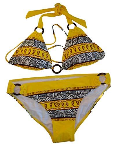 Bikini amarillo estampado de dos piezas con anillas.