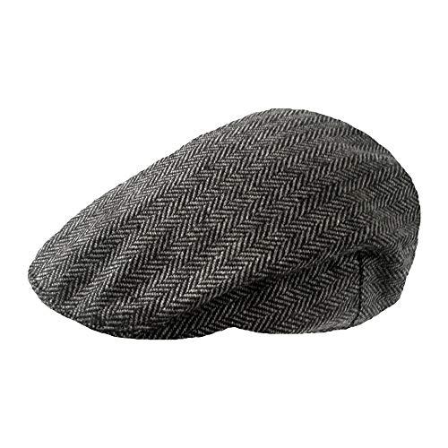 Kostüm Opa Herren - TOSKATOK® Herren Tweed Flat Cap Grau Herring LXL
