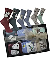 FERETI Calcetines Mujer Caja Regalo Pinguino Oso Panda San Valentin Ideas Box Moda Chica Regalitos Día Madre Cumpleaños