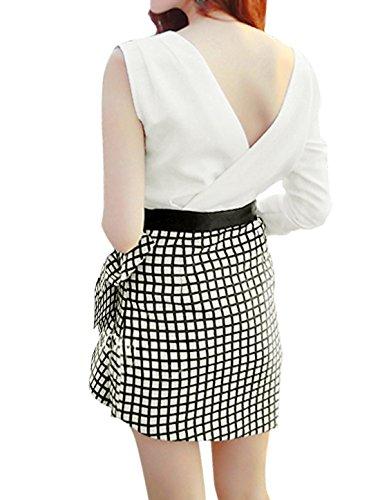 sourcingmap Femme Plaids Panneau Agitation Décor Mini Robe Fourreau Blanc