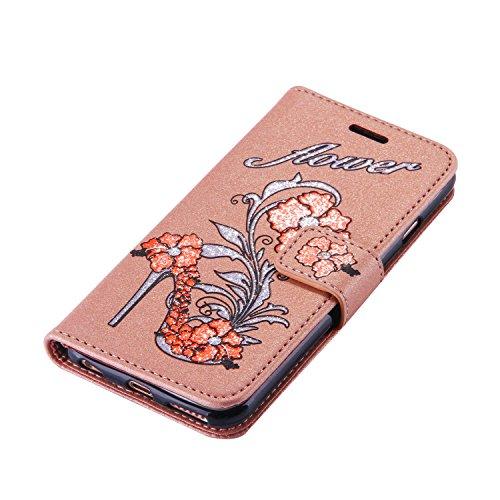 Cover pelle per iPhone 6,per iPhone 6S Custodia, ZCRO Elegante Flip Cover Portafoglio Libro Custodia in Pelle Protettiva Magnetica Case con Glitter Brillantini Fiori Modello Disegni Stilo Penna per iP Oro scuro,arancione