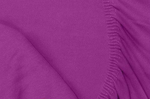 Double Jersey - Spannbettlaken 100% Baumwolle Jersey-Stretch bettlaken, Ultra Weich und Bügelfrei mit bis zu 30cm Stehghöhe, 160x200x30 Prune - 7