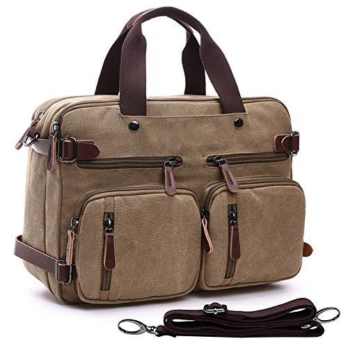 Dasein Große Laptop-Tasche Rucksack Messenger Bag Convertible Aktentasche Schule Bookbag Rucksack für Männer Frauen braun Khaki 14