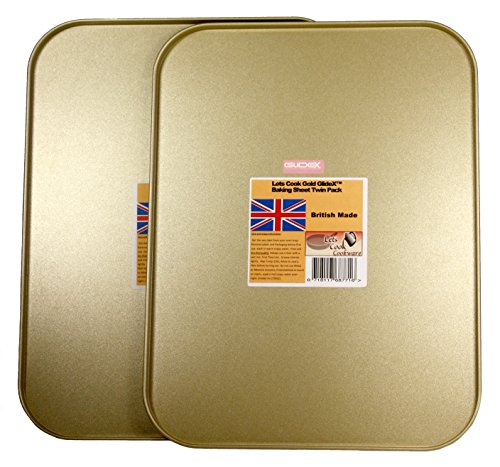 Baking Sheets, Twin Pack, British Made with Gold GlideX Non Stick by Lets Cook Cookware