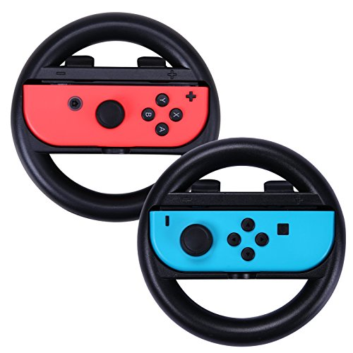 HDE Rennrad für Nintendo Switch Joy-Con Controller, leicht, Kart Racing Lenkrad Controller, Griff-Zubehör, 2 Stück -
