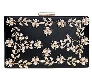 196c2fd128 Borsa Sacchetto Da Diamante Pochette Donna Sera Borsetta Portafoglio Festa  Cerimonia Frizioni Eleganti Fiore Nero