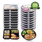 3 Fach Mahlzeit Vorbereitung Behälter mit Deckel, stapelbar, Spülmaschinenfest und mikrowellengeeignet, Lunchbox, rund und eckig, Zwei Verschiedene Größen, 20er Pack by OITUGG (Round +...
