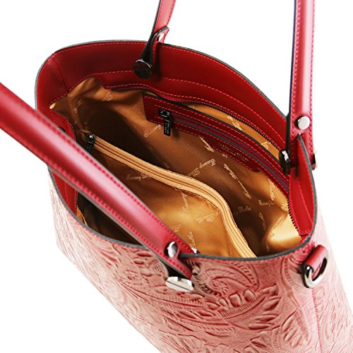 Tuscany Leather Atena Borsa shopping in pelle Ruga stampa floreale - TL141655 (Blu scuro) Rosso Lipstick