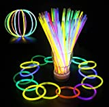 Glowz Glow Sticks Glow in The Dark Premium Bracelets (Couleurs Mélangées) Paquet de 100 - Neon Accessoires pour Filles ou Garçons