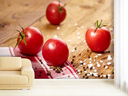 XXL-Tapeten Fototapete Tomato on Table - weitere Größen und Materialien wählbar - DEUTSCHE Profi QUALITÄT von Trendwände (Frische Lieferung Diät)