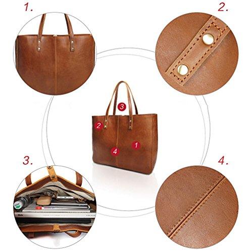 Xinmaoyuan Borse donna retrò Borsa a Tracolla Casual Ampia capacità di vacchetta Ladies Handbag,marrone scuro Giallo
