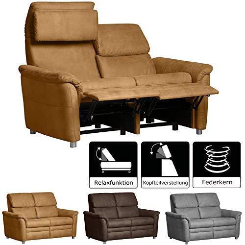 Cavadore 2-Sitzer Sofa Chalsay inkl. verstellbarem Kopfteil und Relaxfunktion/ mit Federkern / 2er Kino-Sofa modern / Größe: 145 x 94 x 92 cm (BxHxT) / Farbe: Hellbraun (mustard)