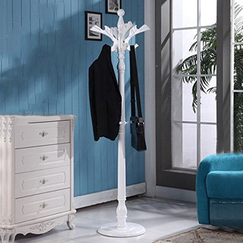HAIYING Garderobenständer aus massivem Birkenholz im Eingangsbereich mit rundem Sockel für Mantel, Hut, Geldbörse, Jacke, Kaffeebraun D -