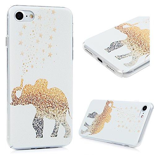 YOKIRIN Custodia per iPhone 7 (4.7 Pollici), Custodia Protettiva PC Case Anti Polvere e Graffi Trasparente Vario Disegno (Lamore tra il Gatto e il Pesce) Elefante 3