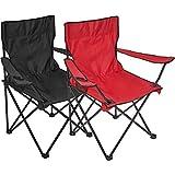 Silla plegable, 2 unidades, silla de camping con soporte para bebidas en reposabrazos, rojo y negro