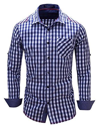 Herren Blau-kariertes Hemd (Kuson Herren Kariert Hemd Slim Fit Bügelleicht Doppelfarbig auch fürs Oktoberfest geeignet Blau, M)