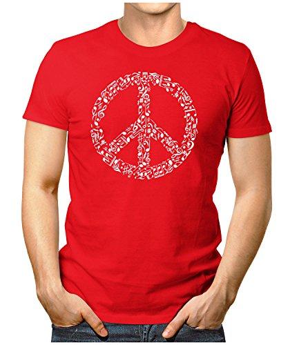 PRILANO Herren Fun T-Shirt - PEACE-MUSIC-WHITE - Small bis 5XL - NEU Rot