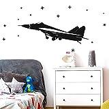 Grandora W5519 Wandtattoo Flugzeug I schwarz 40 x 12 cm I Düsenjet Sterne Kinderzimmer Junge Aufkleber selbstklebend Wandsticker