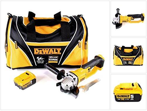 Dewalt DCG 412-18V 125mm XR Li-Ion batteria Smerigliatrice angolare + 1X Dewalt DCB 18418V 5AH/5000mAh Ioni di Litio XR in Dewalt Carry Bag Moto GP Sport tasch