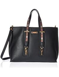 Nikky Women'S Double Top Handle Large Shopper Tote Handbag Shoulder Bag, Black, One Size