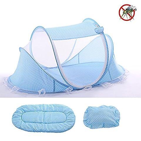 NBKMC Baby Moskitonetz, Portable Foldable Baby Reisen Bett mit Moskitonetzen und Matratze, Kissen für Reise Beach Park Outdoor Baby schlafen - Blau