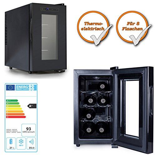 Preisvergleich Produktbild Thermoelektrischer Weinkühlschrank 21Liter für 8Flaschen mit Touch-Screen Bedienfeld schwarz