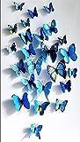 Lot de 12 stickers muraux de Papillons 3D (Bleu)...