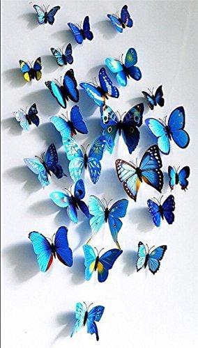 Adhesivos 3D decorativos para pared, diseño de mariposas. 12 unidades Azul
