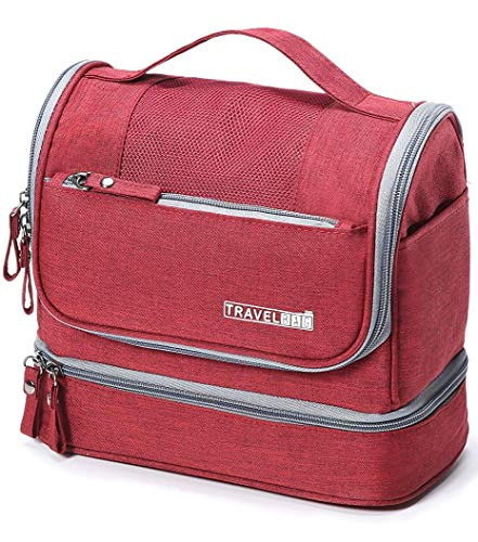 Beauty case da viaggio appendibile, boic borsa toilette impemeabile, adatto per cosmetici wash bag, rasatura accesori da pieghevole, ripiegabile beauty case rigido, borsa trousse da viaggio (rosa)