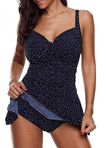 CKMKSA Badeanzug 2 Stück Damen Tankini Swim Kleid Beachwear Gefärbt Sportlich Push Up Bauchweg Bademode Plus Size XL X4-Wellenpunkt