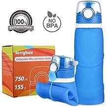 Jerrybox Botella de Agua Reutilizable, libre de BPA, 750ml, Azul, Flexible y Plegable | Bidón para Ciclismo-bicicleta-bici sin BPA| Cantimplora de Silicona para Deportes, Portátil y Rellenable