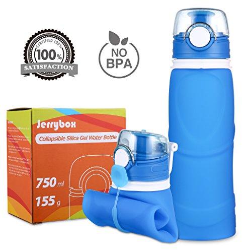 Jerrybox Botella de Agua Reutilizable, libre de BPA, 750ml, Azul, Flex