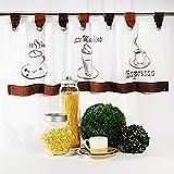 """'moderna café–Cortina """"Coffee–Time con trabillas, kurzstore, voile blanco con tres motivos de café típicos bordado–(aprox h/b 40x 120cm)–Nueva–También una bonita regalo Idea–Bistro–Visillo para cortina ("""