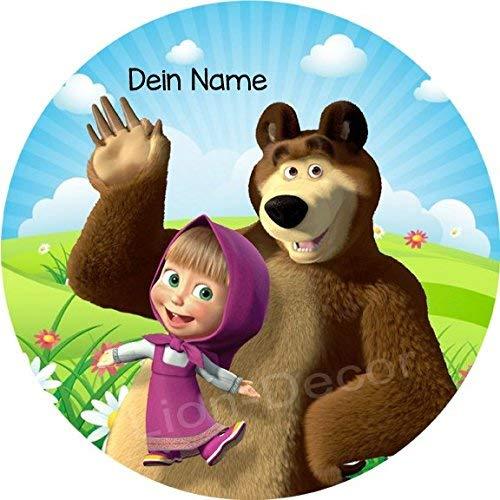 Tortenaufleger Mascha und der Bär1 mit Wunschname / Lieferung 2 bis 5 Werktage - Bären Nachricht