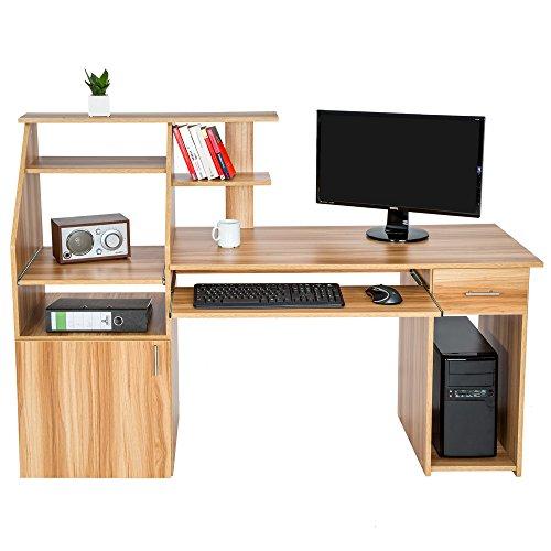 Tectake bureau informatique table de l 39 ordinateur avec de nombreux rangements meubles de bureaux - Bureau pc meuble ...