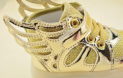 Fortuning's JDS Enfants unisexe Velcro LED filature Sneakers Chaussures lumineuses Chaussures coiffer aile éclairé clignotant Or