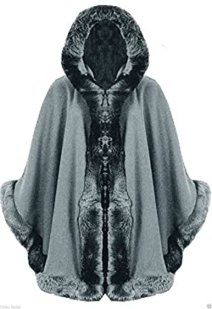 Zee Fashion Ladies Faux Fur Trim Hooded Capes Ponchos Coat