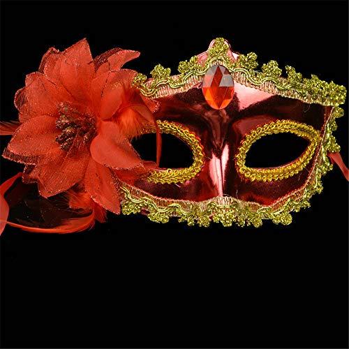 NUOKAI Maske _ Halloween bemalte Maske Prinzessin Maske Seite mit Blume Überzug Schönheitsmaske, rot