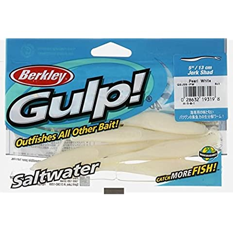 Berkley Jerk Shad Pearl White Gulp Salt Water Fishing Bait 5 Pack 5