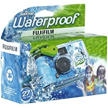 Fujifilm Quicksnap 800 Appareil photo marine jetable étanche (à une profondeur allant jusqu'à 17 pieds) 27 photos Prêt à photographier Bleu