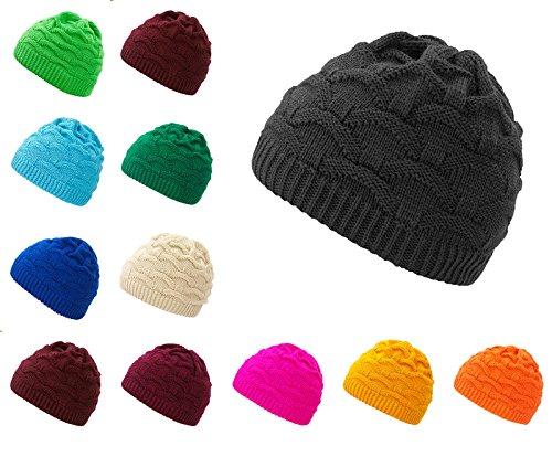 4sold Wave Womens Girls Winter Hat Wool Knitted Beanie Fleece Cap Ski Snowboard Hats Bobble