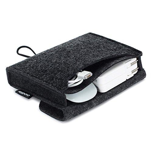 Nidoo Filz Lagerung Beutel Tasche Fall Case für Zubehör ( Maus, Handy, Kabel, SSD, HDD Gehäuse, Power Bank und mehr ) - 6.3 Zoll, dunkelgrau