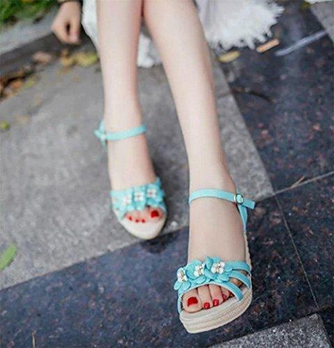 Keil-Sandalen handgemachte Blumen Mode Freizeitschuhe Wild Muffin bequem mit Einfachheit in schweren Boden Sandalen Light Blue
