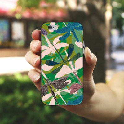 Apple iPhone 5s Housse Outdoor Étui militaire Coque Libellules Fleurs Fleurs Housse en silicone noir / blanc