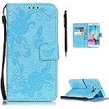 Hülle für Samsung Galaxy S6 Edge Plus Hülle Leder Handytasche, Flip Case mit Schmetterling Blumen Muster Kartenfach Schutzhülle Tasche Cover, Hancda Hüllen Magnet Leder Schutztasche Handyhülle Elegant Standfunktion Wallet Etui Hülle Schalen Ledertasche für Samsung Galaxy S6 Edge Plus [Nicht für S6 Edge / S6] - Blau